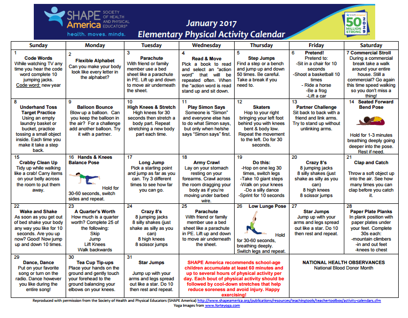 Safety Calendar Ideas : Physical education and health shape america
